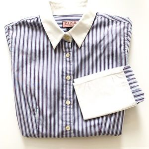 Thomas Pink Striped Button Down French Cuffs US4